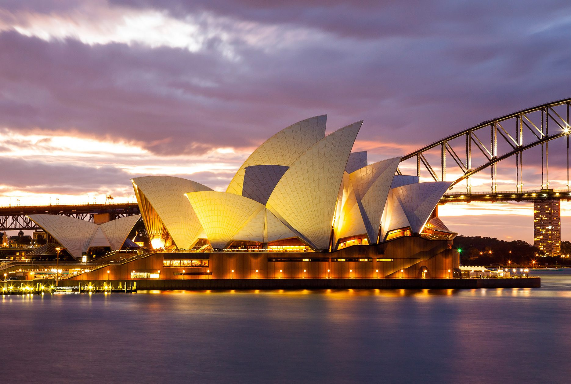 Sydney Opera House and Harbour Bridge at Dusk, Australia бесплатно