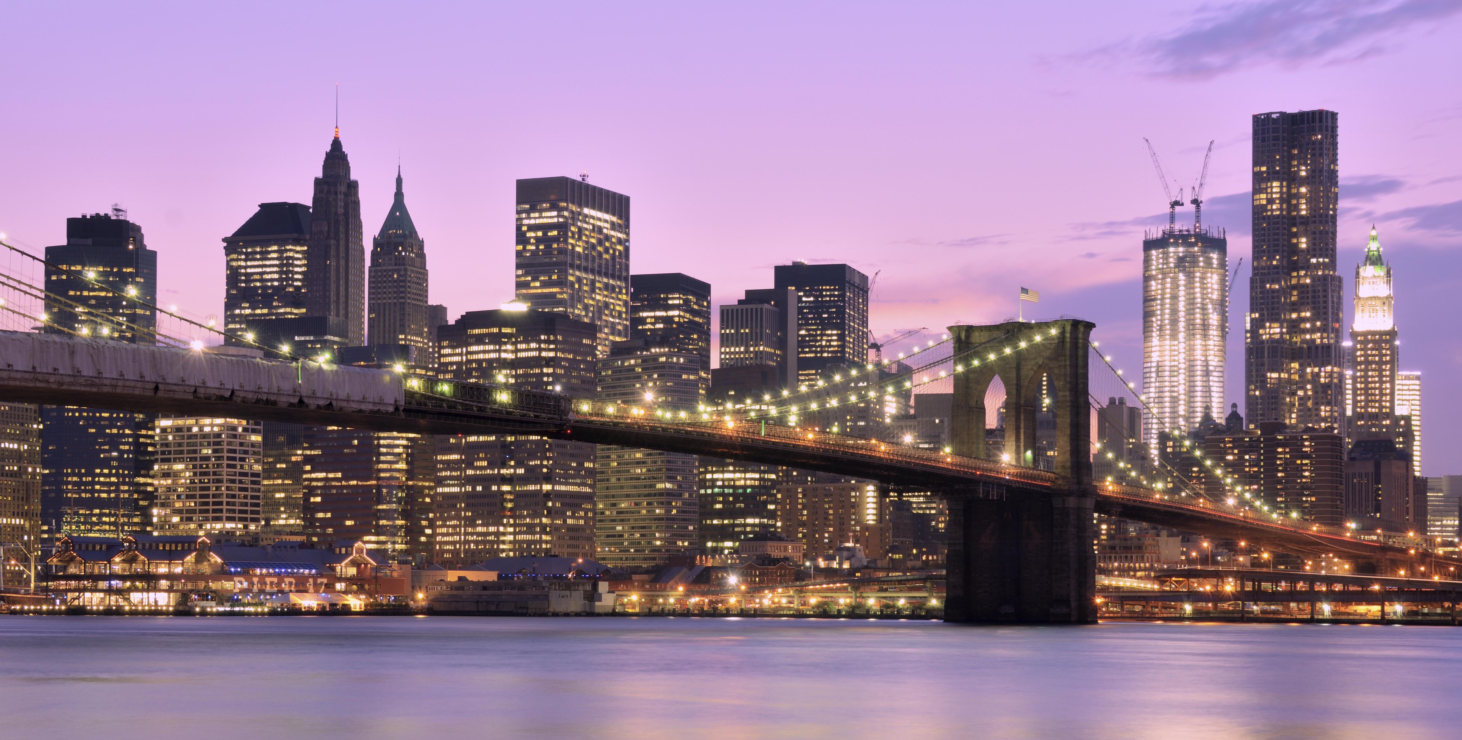 Brooklyn Bridge and Lower Manhattan skyline in New York City.
